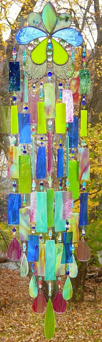 sculptural poetic wanderlust- Kirk's Glass Art fused and stained glass windchimes