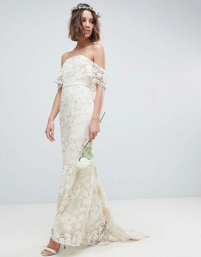 eff8db85 Asos Edition Bandeau Wedding Maxi Dress In Floral Lace | Dresses for ...