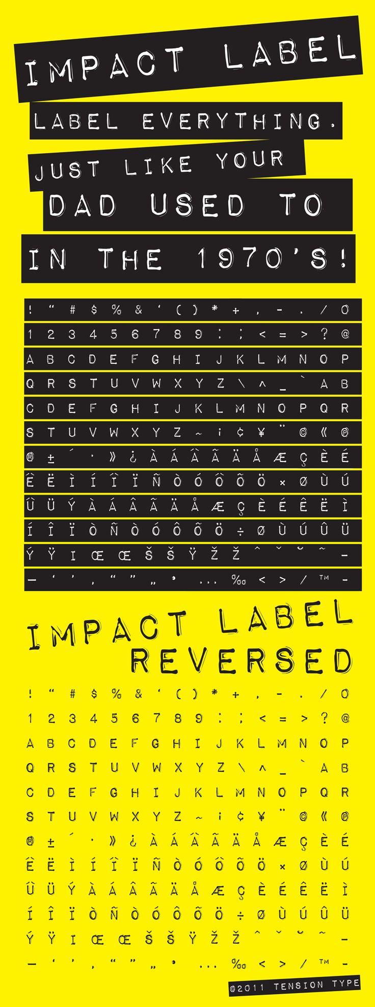 Love this font- Impact Label.  Love label makers:-) #font #blog