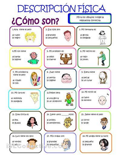 Adjectives in Spanish: physical descriptions. Spanish worksheet for kids. Ejercicio de adjetivos para practicar las descripciones físicas.