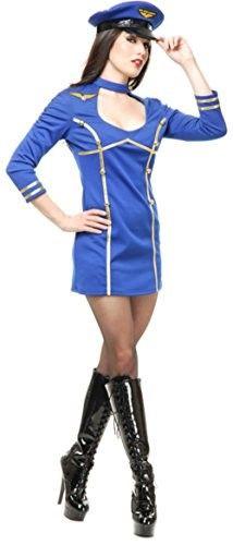 Women's Medium 8-10 Sexy Blue Fly Me Airline Stewardess Pilot Costume, Size: Womens Medium (8-10)