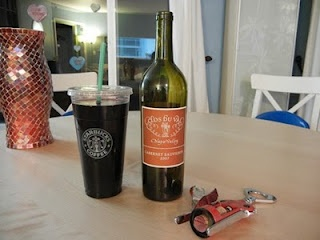 An entire bottle of wine can fit in a Starbucks Trenta cup....just saying..