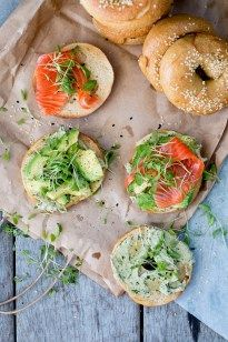 Homemade bagels with coriander-lime hummus, avocado & salmon. Based on Peter Reinhart's chewy, fragrant sesame bagels and whatever toppings you like!