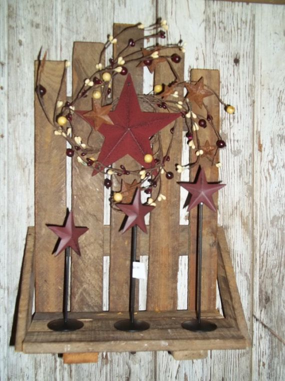 Wood Tobacco Lath Shelf with Stars and Berries by Waynesshop, $19.99