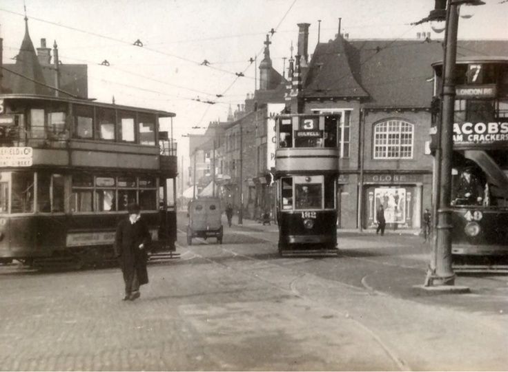 Trams at Trent Bridge, c1936