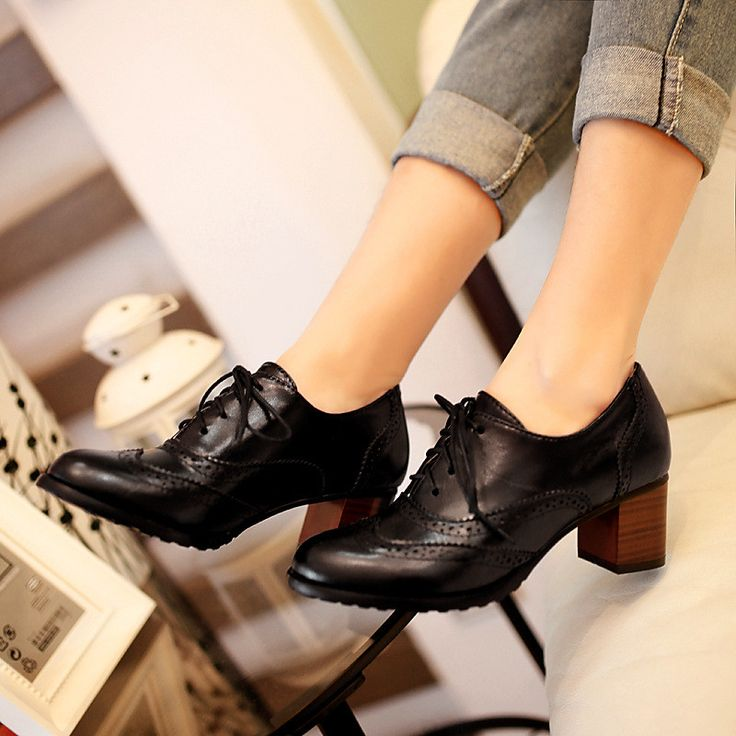 Lace Up Oxfords Women Pumps Lace Up High Heels Shoes Woman