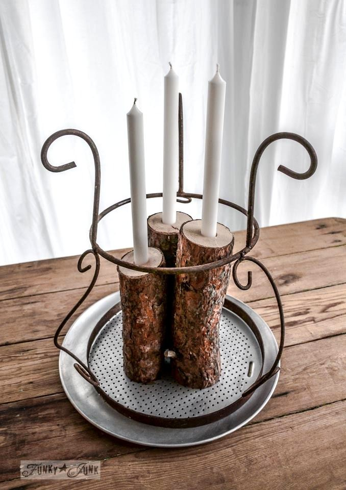 Hometalk :: From Firewood to Christmas Log Candle Centrepiece
