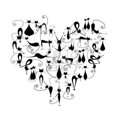 Silueta de gatos negros en forma de corazón