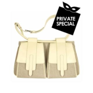 Bisaccia - Natural Canvas and Cream Leather Trim Tote Bag -  Bisaccia  Natural Canvas and Cream Leather Trim Tote Bag Hogan Secret 50% OFF Special, not accessible from our public site. Use code: PLATINUMCODE. Limited time only. A casual edge for a refined and spacious Italian bag by Hogan, made in natural canvas embellished by a detailed leather...
