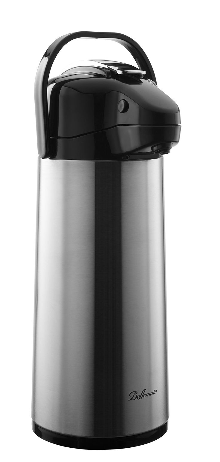 Bellemain 2.2 Liter Airpot Coffee Dispenser with Pump, Stainless Steel Vacuum Insulated