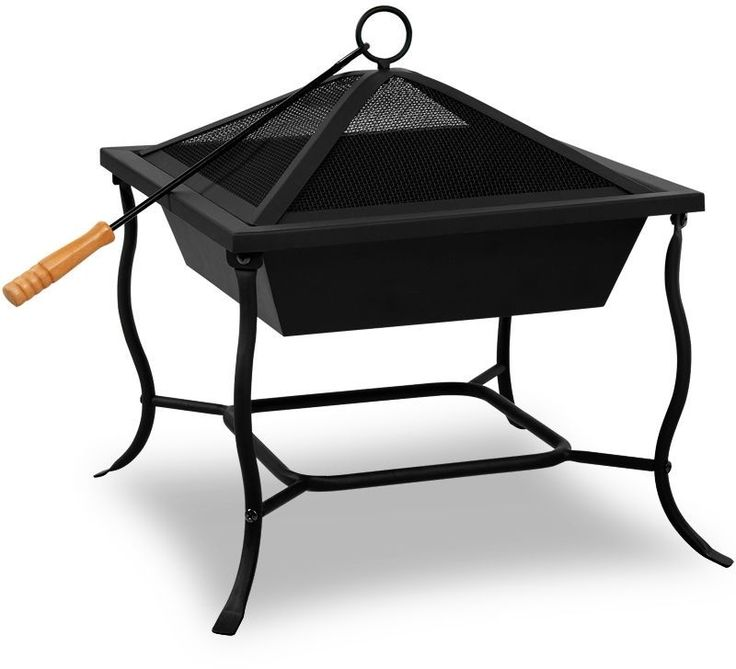 Garden Fire Bowl Basket Grill Pit Heater Stainless Steel Deck Fireplace 45cm NEW
