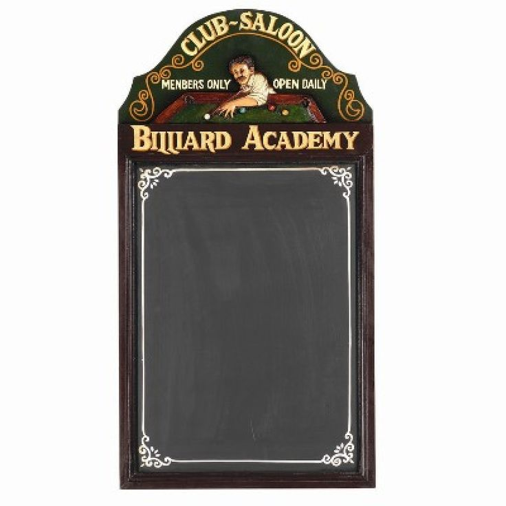 Pub Sign - Billiard Acedemy Chalkboard https://www.studio9furniture.com/entertain/bar-decor/wall-decor/pub-sign-billiard-academy-chalkboard  Great for scoring, this chalkboard is made from MDF / Polyresin / Chalkboard Paint and has a hand painted finish.