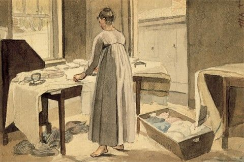 Ironing by John Lewis Krimmel Sketchbook c. 1819. The Winterthur Library. The tables have been spread with clean ironing cloths. Bare feet and the open window help to mitigate the task of this chore.