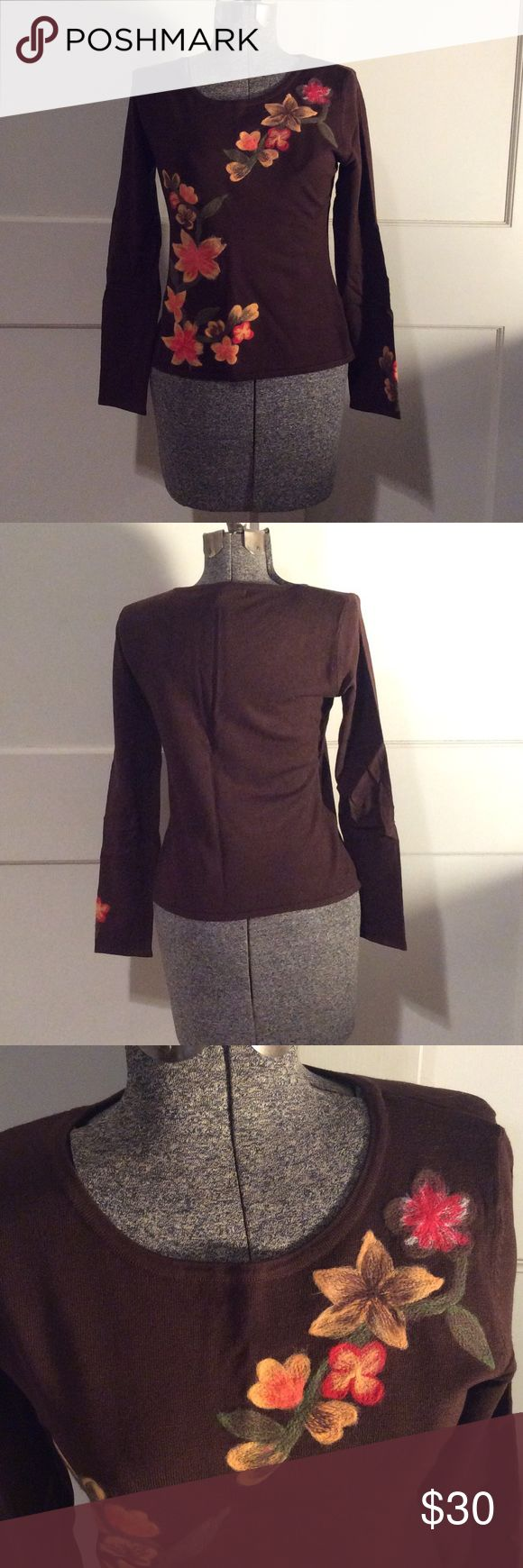 Brown w/ Flowers by Nicole Alexander Perfect condition (sect. 1) Nicole Alexander Sweaters Crew & Scoop Necks