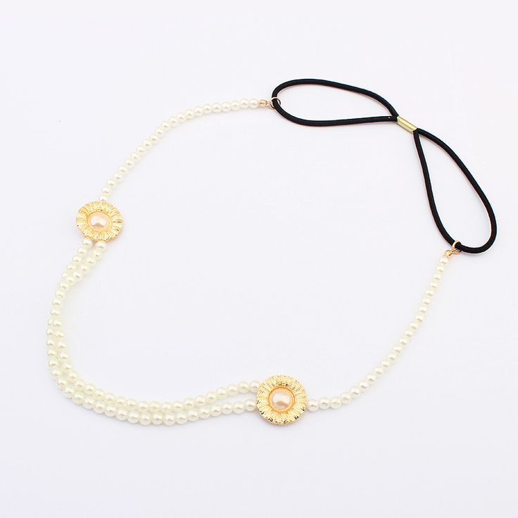 Chain Headband, Zinc Alloy, with ABS Plastic Pearl