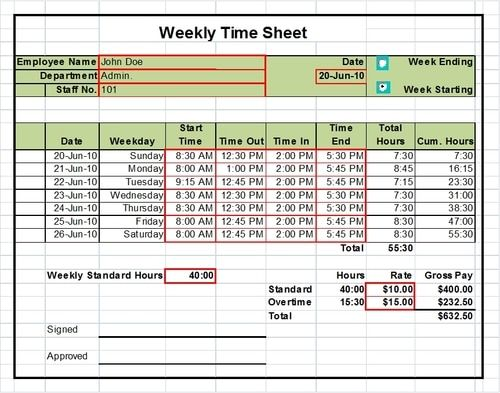 Timesheet Excel Templates 1 week, 2 Weeks and Monthly Versions