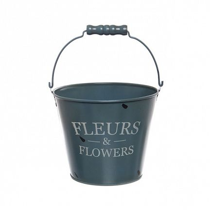 Tin Bucket Jardinier Round Handle 16.5Dx13.5cmH Fr Blue