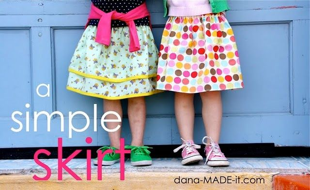 Super easy skirt tutorial!  Time to make matching skirts for the girls & I!