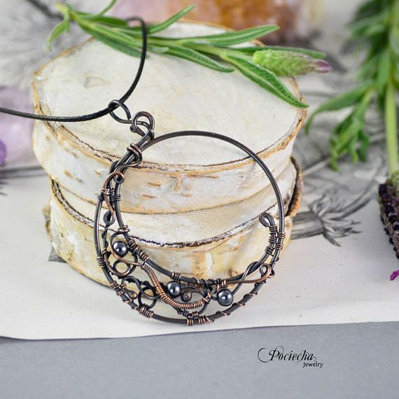 Magic moon hematite pendant necklace  Jewelry bohemian wire