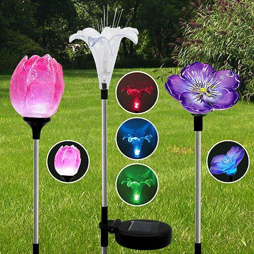 Three Solar Powered Led Flower Garden Light Set Patio