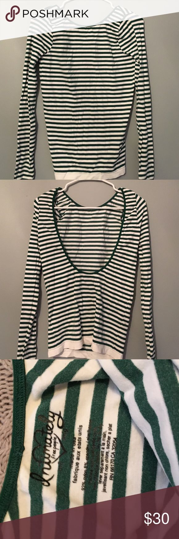 Free People tight shirt worn once. free people green and white tight shirt/open back Free People Tops Blouses