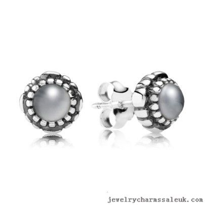 Pandora Silver June Birthstone Moonstone Stud Earrings 791491CZ