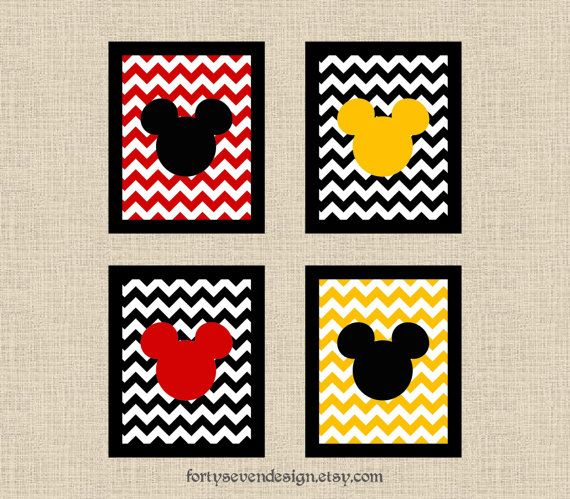 Set of 4 Mickey Mouse Black, White, Red & Yellow Chevron Printable Wall Art
