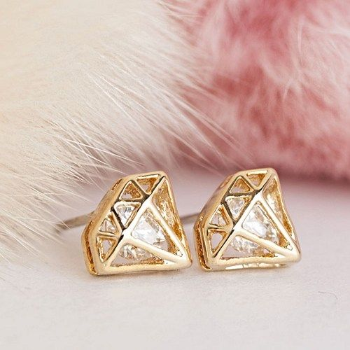 Encased Within This Unique Pair Of Diamond Shaped Earrings In Gold Toned By Calla Q Is A Cubic Zirconia Crystal Looks Like Little