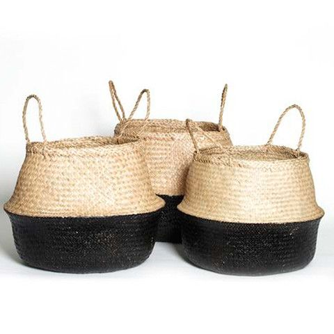 Natural weave seagrass basketsThese baskets are perfect for indoor plants, storing toys, towels or throw rugs. Plus they are completely collapsable for easy storage.Size:Small: Dia. 23 x H 25cmMedium: Dia 38 x H 30cmLarge: Dia.40cm x H 40cm