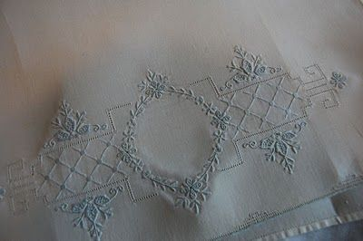 Beautiful Embroidery on a Vintage Tea Towel. The Old Fashioned Baby Sewing Room: 4/1/11 - 5/1/11