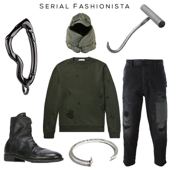 Happy #Halloween // Clockwise: Arcus carabiner keychain by @svorndesign, hat by Junya Watanabe Comme Des Garçons, Meat Hook, Pants by Diesel, Sweater by Sandro, Cuff by Giles & Brother, Boots by Guidi //  #mensfashion #mensstyle #halloweencostume #serialkiller #hookkiller