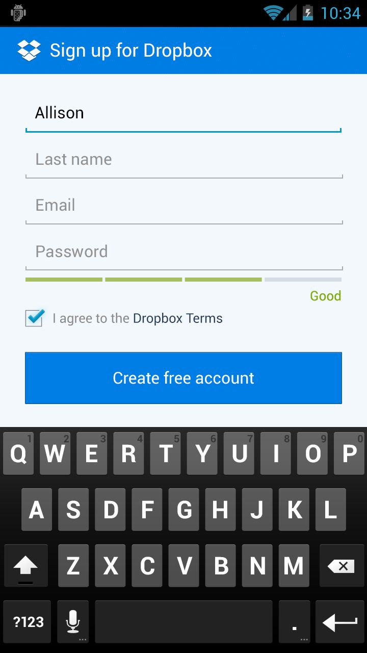 New dropbox sign up