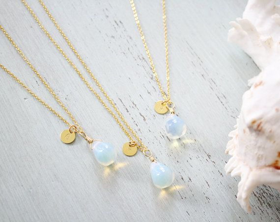 Moon Droplets Bridesmaid Necklace Moonstone by MoonTideJewellery