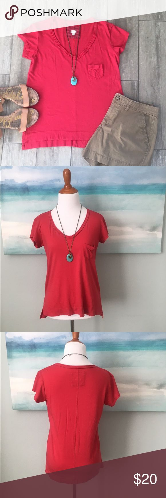 """Anthropologie t.la Tee Shirt Wrap yourself in Anthro's softest T-shirt line from t.la. This red tee is longer in back. Runs a bit small. Worn a few times. No pilling or fading or holes. 💕Measures: Approx/Flat. 17"""" bust. 23-24"""" L. Hi low. 50/50 Cotton/Modal. Bundle for best pricing! Anthropologie Tops Tees - Short Sleeve"""