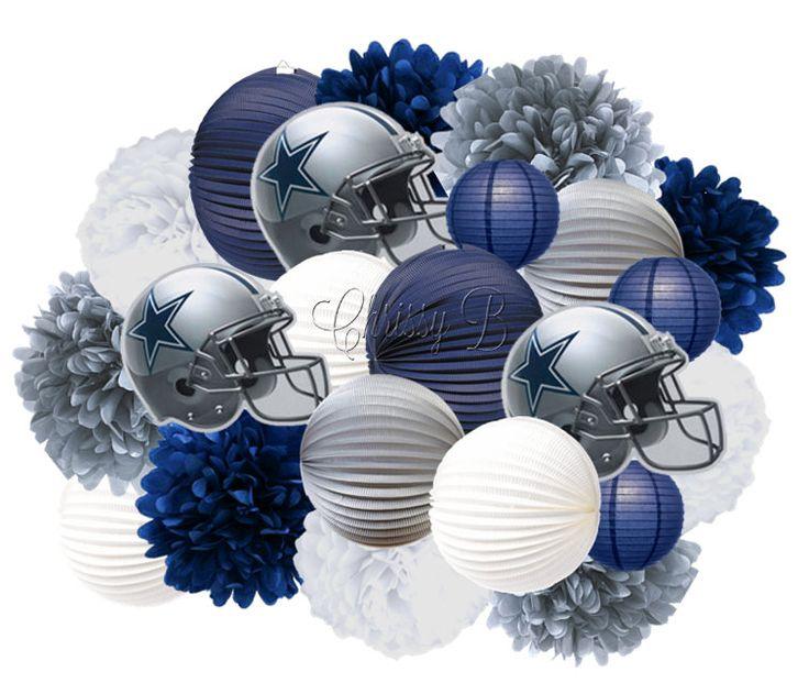 Dallas Cowboys Accordion Lantern and Tissue Pom Giant Hanging Party Kit - Tissue Pom, Paper Lantern Helmet Cutout - NFL Football Party