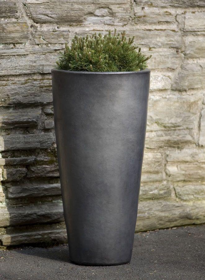 Aluan Tall Round Planter In Graphite Glazed And Ceramic