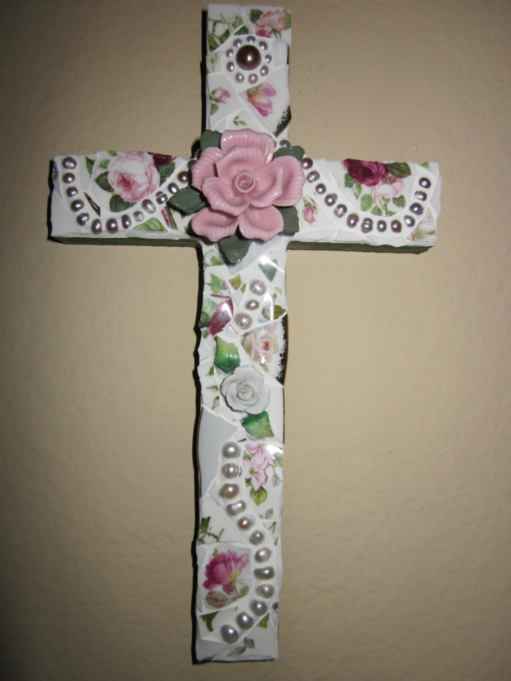 Floral Mosaic Cross . Genuine Fresh Water Pearl Beads . Broken China Pieces . Roses . Decor Plaque . Broken Ceramic . Shabby Chic . Handmade. $25.00, via Etsy.