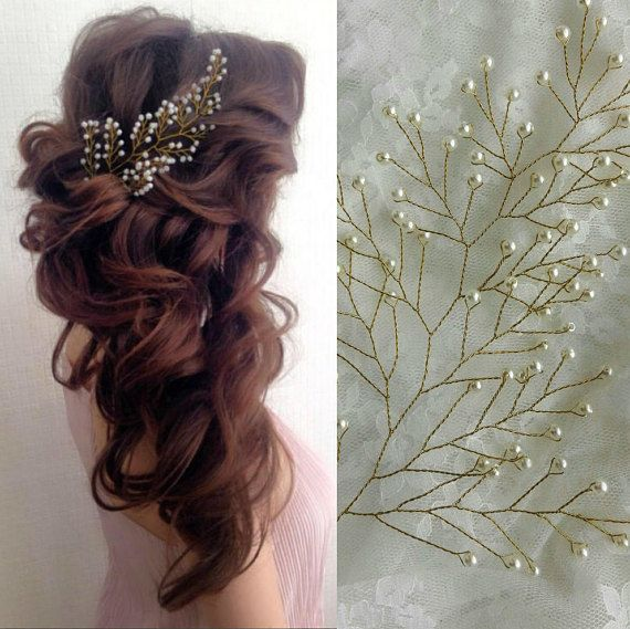 Silmple and elegant gold bridal hair piece in the form of branch. This pearl wedding hair brooch is rich in tender pearl beads. The branches of this bridal hair piece are flexible that will give you a possibility to play with your wedding hairstyle. The bridal hair accessory is