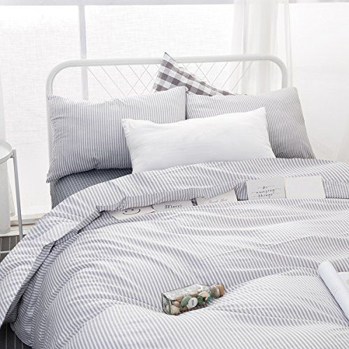 Wake In Cloud Gray White Striped Duvet Cover Set 100 Cotton