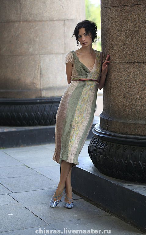 "Купить Авторское платье ""ампир"" - felted dress, silk dress, summer dress, ампир"