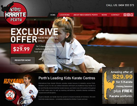 The Kids Karate Perth is an eCommerce website design offering Karate lessons for Kids living around Perth City and Suburbs. Another outstanding web design by http://www.sushidigital.com.au