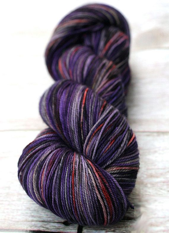 Cashmere Merino Hand Dyed Sock Yarn 115g by blissfulknitsyarn - Gorgeous. Love the purples