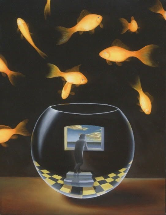 RENE MAGRITTE @DestinationMars I love this! The fish surrounding the human stuck in his own little world is so dramatic, and yet hilarious. More
