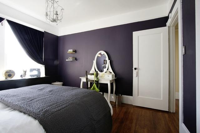 Purple bedroom, white vanity via AT