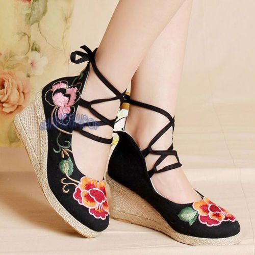 Embroidered-Ladies-Wedge-Shoes-Flower-Ankle-Strap-Pump-Chinese-Ethnic-Black-New