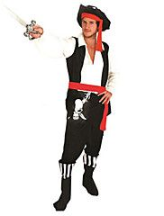 Cosplay Kostumer / Party-kostyme Pirat Halloween Kostumer Rød/Svart Lapper Topp / Bukser / Belte / Hatt Halloween / Karneval Mann