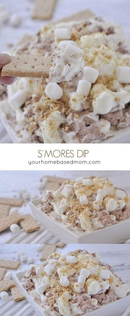 S'mores Dip is a fun way to enjoy all the flavor of a traditional s'mores without a fire! A marshmallow swirl mixed in with a ribbon of chocolate - so yummy!  S'MORES DESSERT DIP RECIPE