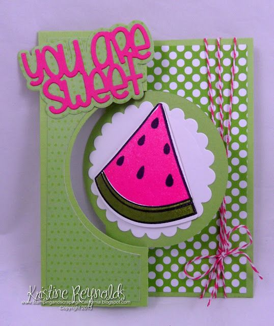 Sizzix large circle flip it card with watermelons2stamp from The Stamps of life
