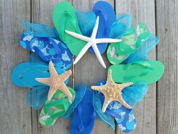 flip flop wreath starfish aqua blue beach lovers beach house nautical beach house decor