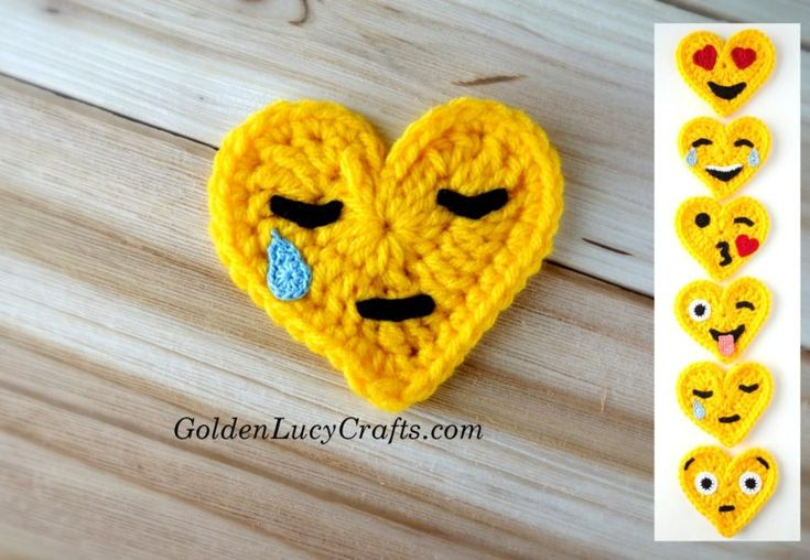 Crochet Emoji Crying Face, free crochet pattern, heart shaped, Valentines - GoldenLucyCrafts